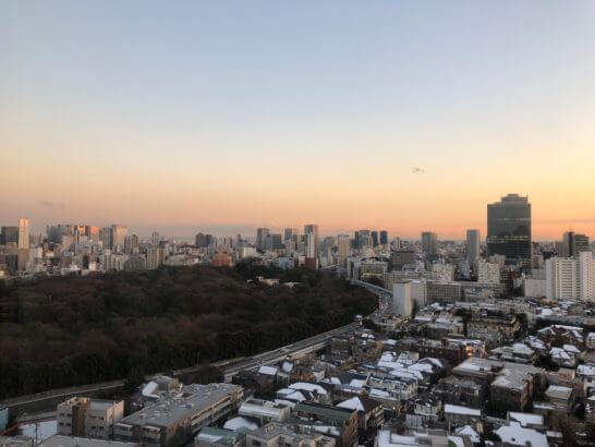 ウェスティンホテル東京の客室からの夕焼け