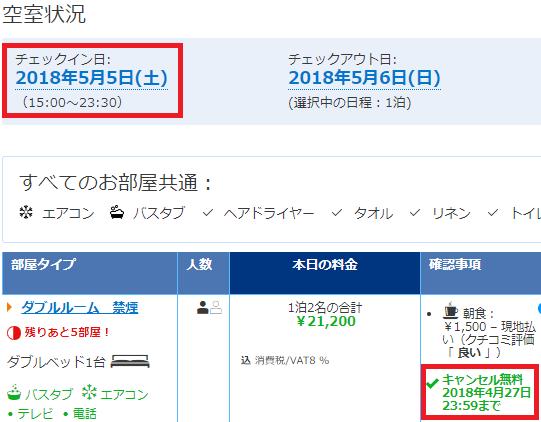 Booking.comのキャンセル料が無料の期間(1週間前までのケース)