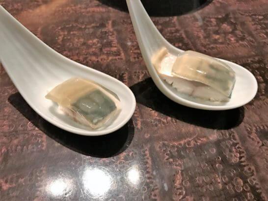 ウェスティンホテル東京のザ・テラスのディナー (しめ鯖)