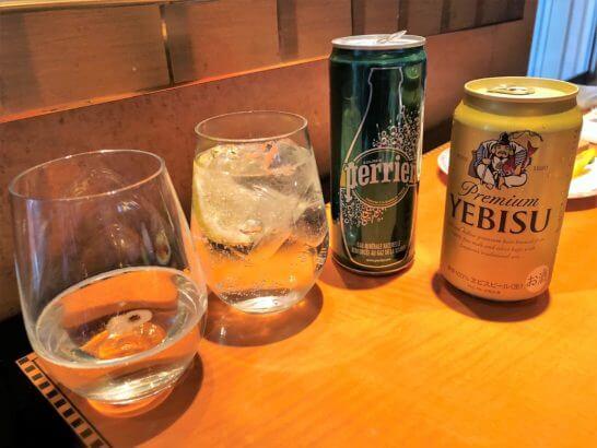 スパークリングワインとペリエとエビスビール