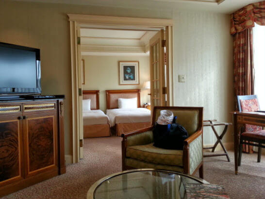 リーガロイヤルホテルのジュニアスイートルーム