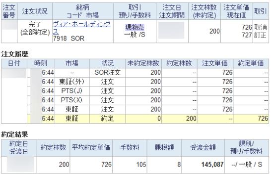 SBI証券のSBBO-X注文で東証で約定した結果