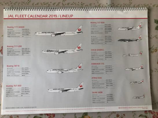 CLUB-Aカード以上のJALカード特典のカレンダー (裏面)