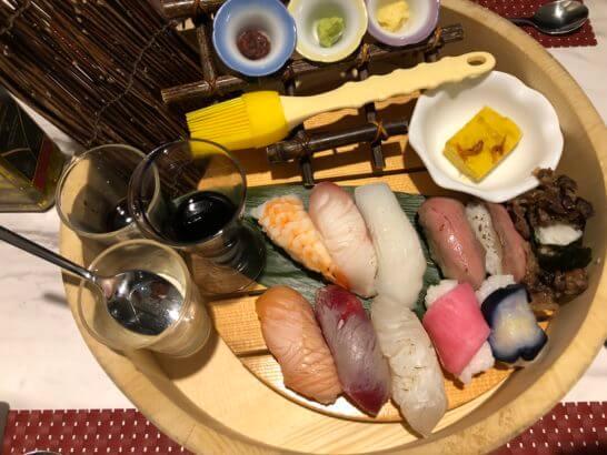 琵琶湖マリオットの夕食のお寿司