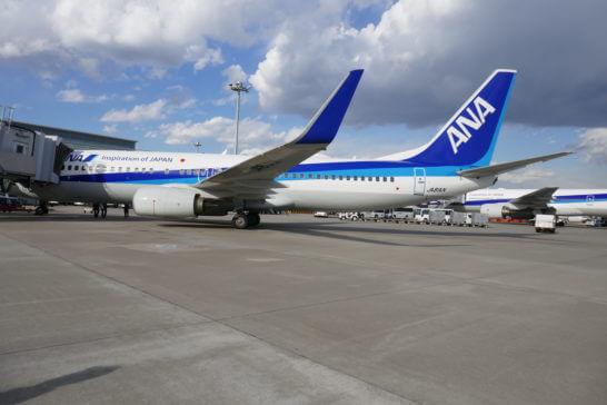 駐機するANAの飛行機