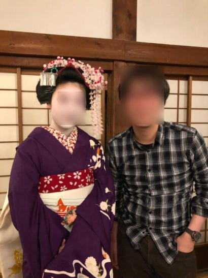 アメックスの醍醐寺のイベントでの舞妓さんとの記念撮影