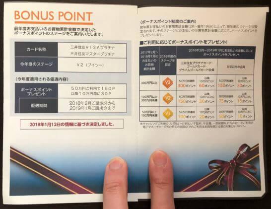 三井住友VISAカードのワールドプレゼントのボーナスポイントの案内と説明
