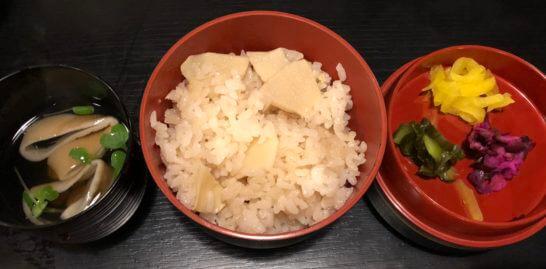 アメックス会員限定の醐山料理「花見膳」 の吸い物・筍ご飯・香の物