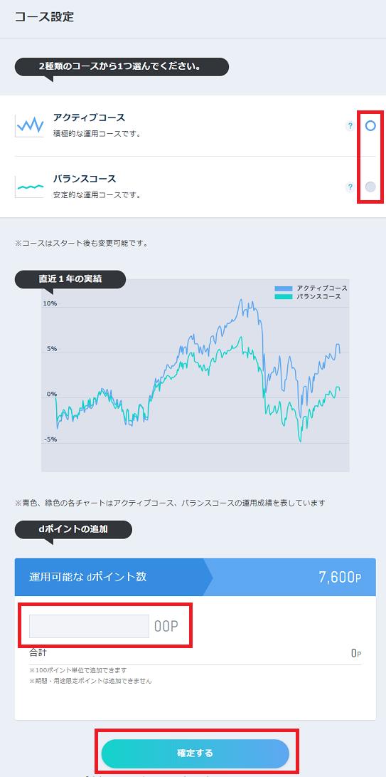 dポイント投資の画面