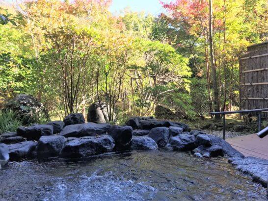 箱根吟遊の客室露天風呂(月)の朝