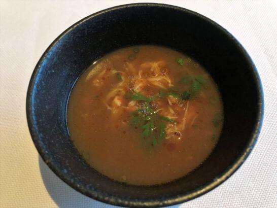 毛蟹のスープ アンチョチリ 木の芽