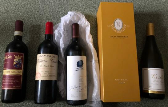5本のワイン・シャンパン・白ワイン