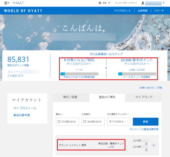 グランドハイアット東京でのポイント獲得履歴