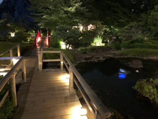 ホテルニューオータニの日本庭園(夜) (2)
