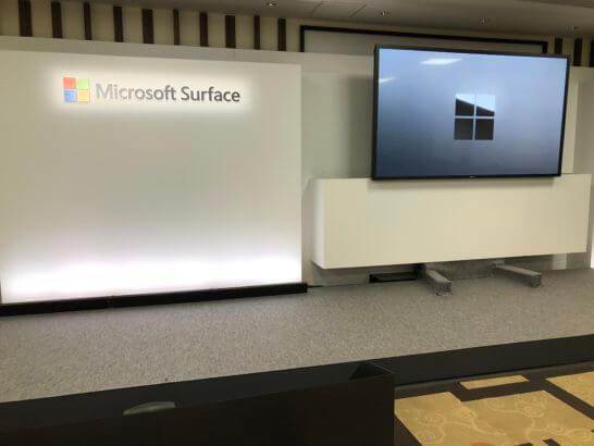 Surface新製品の発表会のステージ
