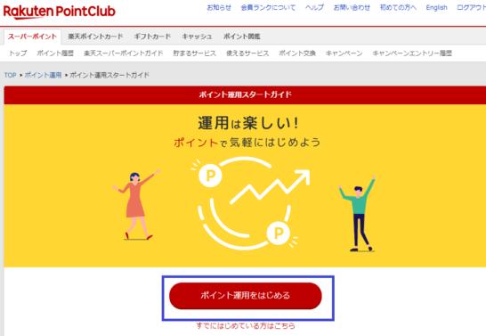 ポイント運用 by 楽天PointClubのトップ画面