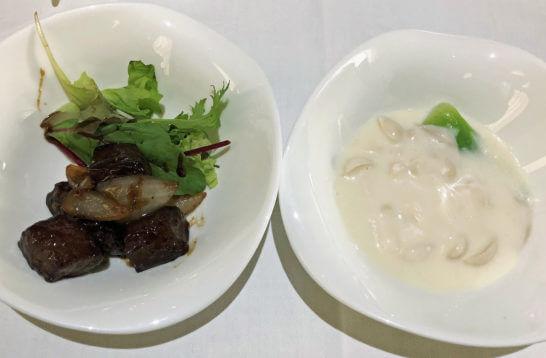 ロイヤルパークホテルの中華料理の牛肉とアワビのクリーム煮