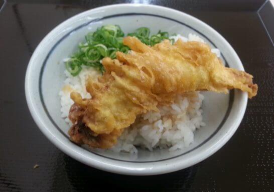 丸亀製麺の天ぷらとご飯