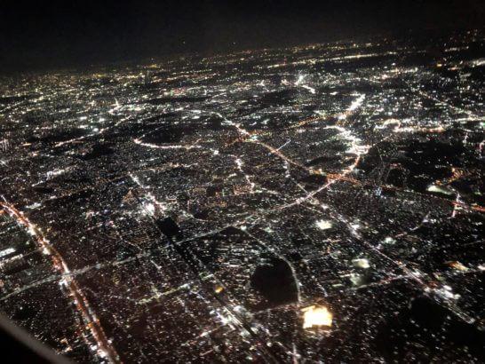 JALの機中からの夜景
