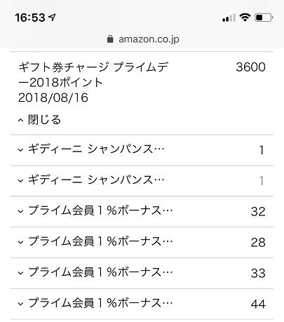 Amazonポイントの獲得履歴(プライムデー)