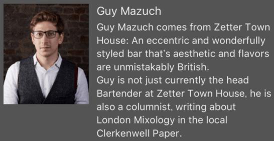 「Zetter Town House」でヘッドバーテンダーを務めるGuy Mazuch氏