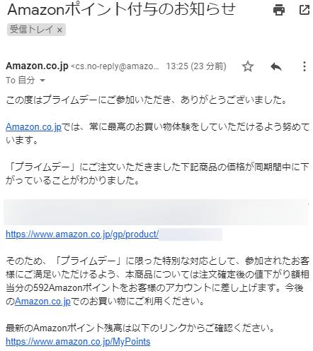 Amazonポイント付与のお知らせメール