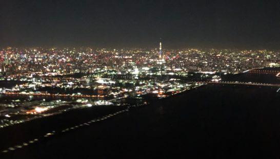JALの機中からの夜景(スカイツリーも)