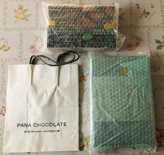 パナチョコレートのギフトボックス、チョコレートバー、手提げ袋