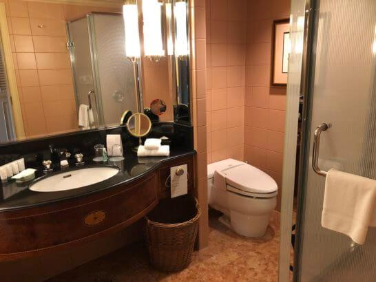 ウェスティンホテル東京のデラックスルームの洗面台・トイレ・シャワーブース
