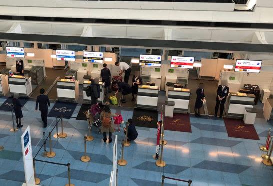 羽田空港国際線のJGC・ファーストクラスのチェックインカウンター