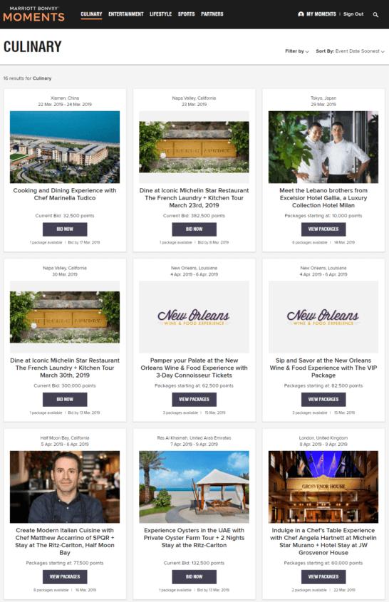 Marriott Bonvoy Momentsの料理カテゴリーページ