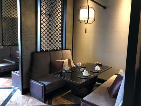ウェスティンホテル東京の中華料理レストランの座席