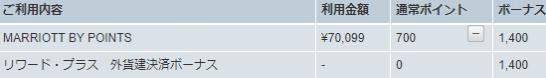マリオットボンヴォイのポイント購入履歴(アメックスプラチナでポイント3倍)