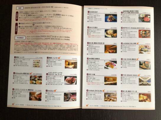 ダイナースクラブ 銀座レストランウィークのレストラン例