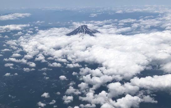 ANAの機中から見た富士山