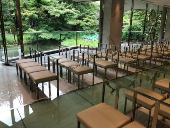 東京マリオットホテルの庭園チャペルからの景色