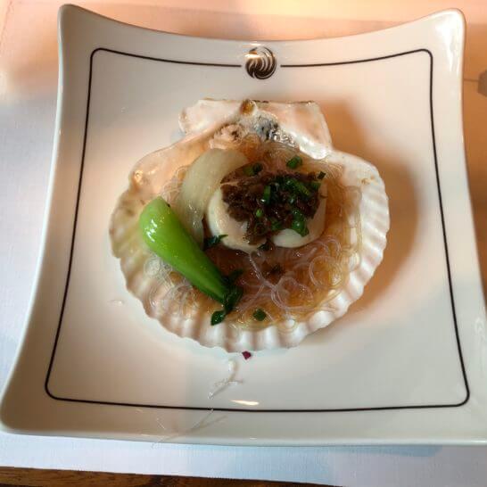帆立貝と中国野菜 春雨の梅菜香蒸し