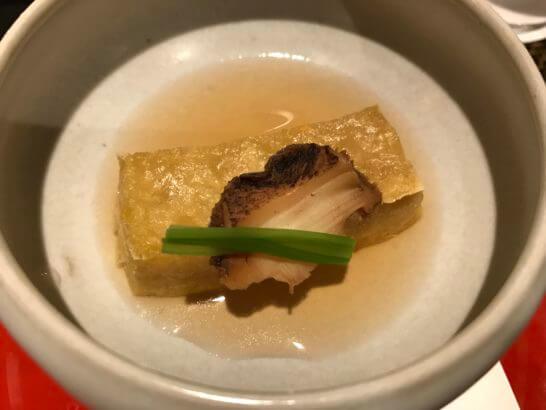 椿山荘の日本料理みゆきのアワビ