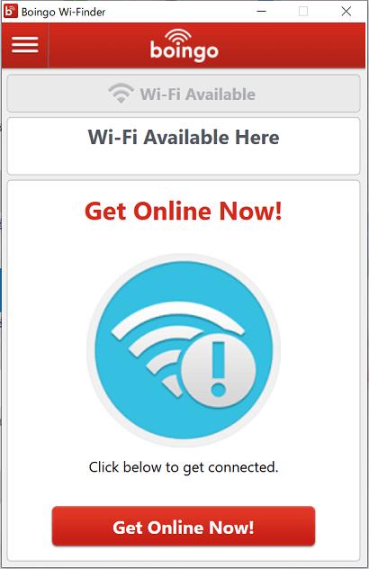 Boingo Wi-Fiの接続画面