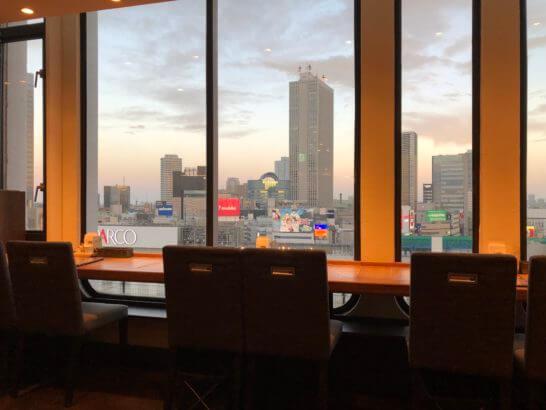クレディセゾン本社を眺めながらの食事