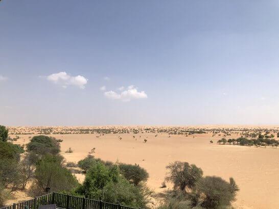 アルマハ ラグジュアリーコレクションのテラスから眺めるドバイの砂漠