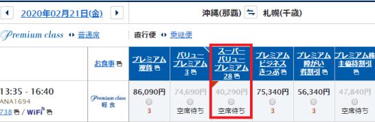 那覇→千歳のANAプレミアムクラス運賃例