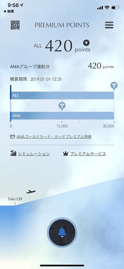 ANAプレミアムポイントの画面(ANAマイレージクラブのアプリ)