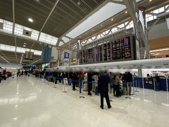 成田空港の手荷物検査場の長蛇の列