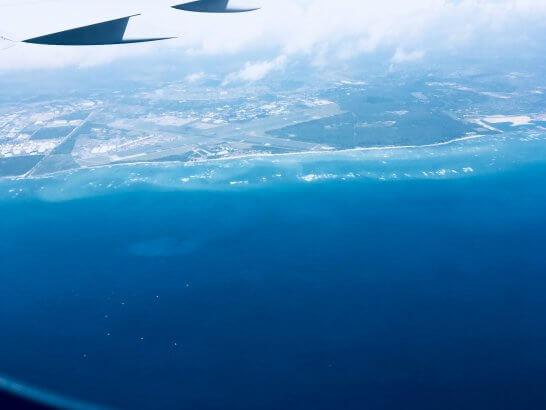 ハワイアン航空の機中からのハワイ