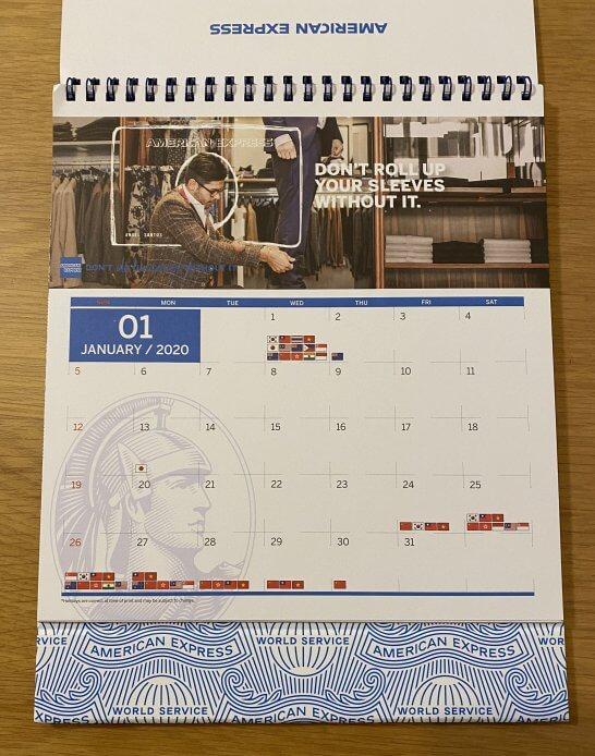 アメックスのカレンダー(中身)