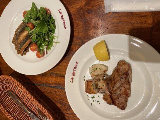ラ・ベットラ・ダ・オチアイの肉料理と魚料理