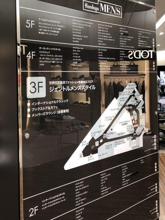 阪急メンズ大阪のフロア案内