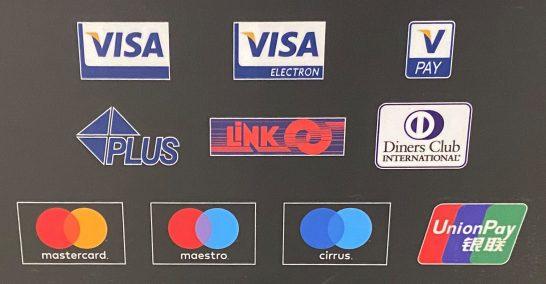 Visa、Mastercard、PLUS、maestro、cirrus、ダイナースクラブ、銀聯のロゴ