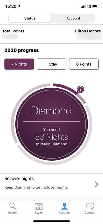ヒルトン・オナーズのダイヤモンドの画面
